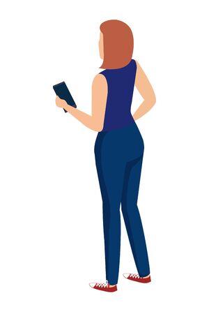cute young woman using smartphone character vector illustration design Иллюстрация