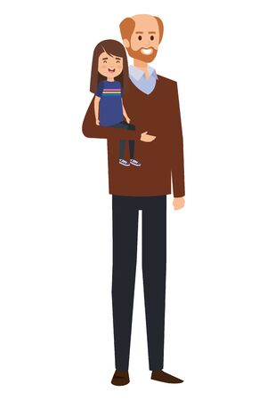 adult father bald with beard and daughter vector illustration design 向量圖像