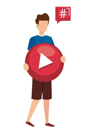 young man lifting play button with speech bubble vector illustration design Imagens - 124942149