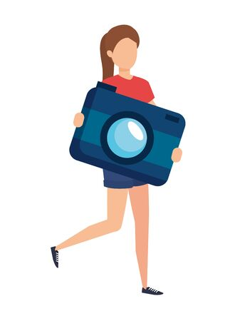 young woman lifting camera photographic character vector illustration design Ilustração