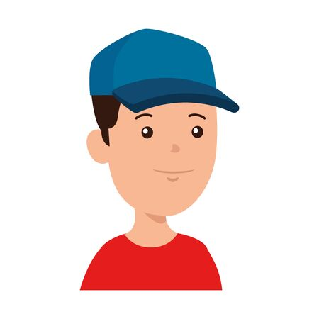 happy little school boy with sport cap vector illustration design  イラスト・ベクター素材