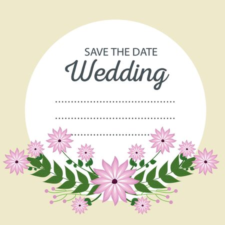 wedding card event with flowers and leaves design vector illustration