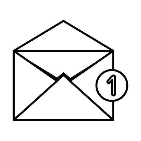 envelope mail with counter number vector illustration design Çizim