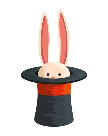 circus wizard hat with rabbit vector illustration design
