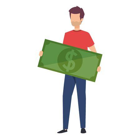 man lifting bill money dollar character vector illustration design Imagens - 124945595
