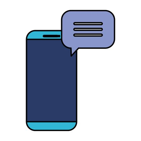 smartphone with speech bubble message vector illustration design