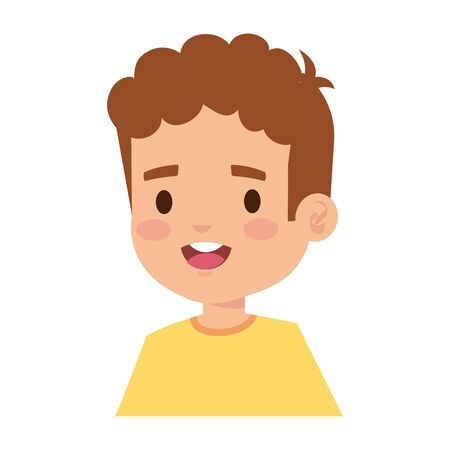 happy little boy comic character vector illustration design