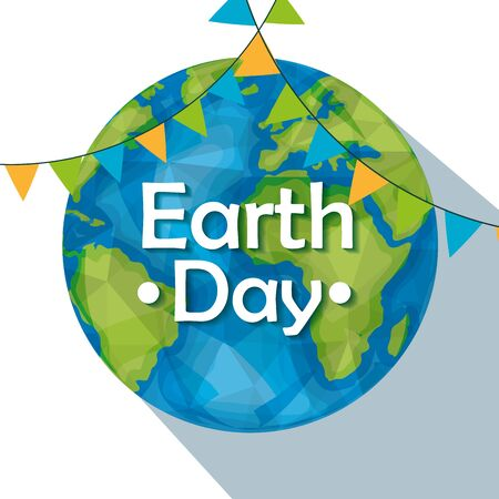 planet with party banner to earth day vector illustration