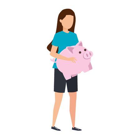 young woman lifting piggy savings character vector illustration design