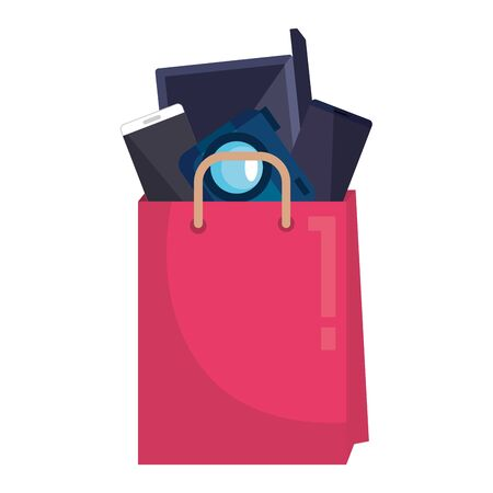 shopping bag with electronic devices vector illustration design 일러스트