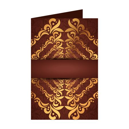 card with rhomboid golden label victorian style vector illustration design