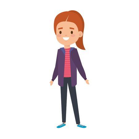 cute little girl kid character vector illustration design
