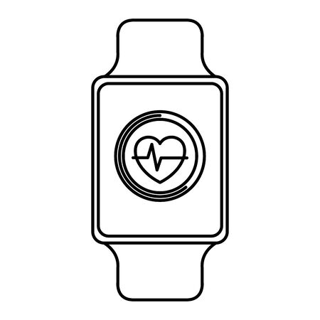smartwatch with cardiology application service vector illustration design