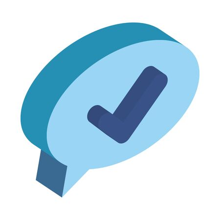 speech bubble with ok check symbol vector illustration design