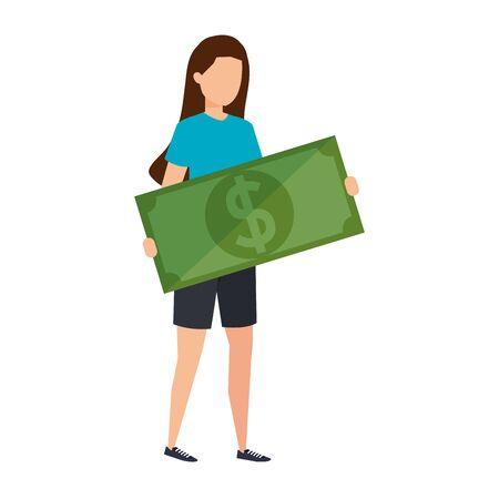 woman lifting bill money dollar character vector illustration design