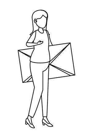 young woman lifting envelope mail vector illustration design Imagens - 124977448