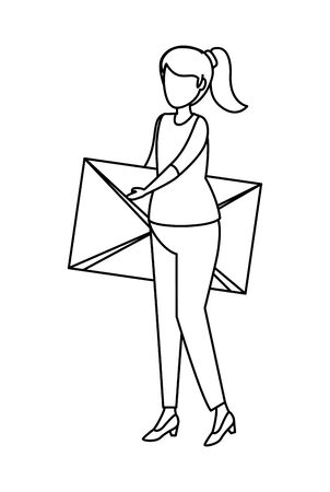 young woman lifting envelope mail vector illustration design Imagens - 124975696