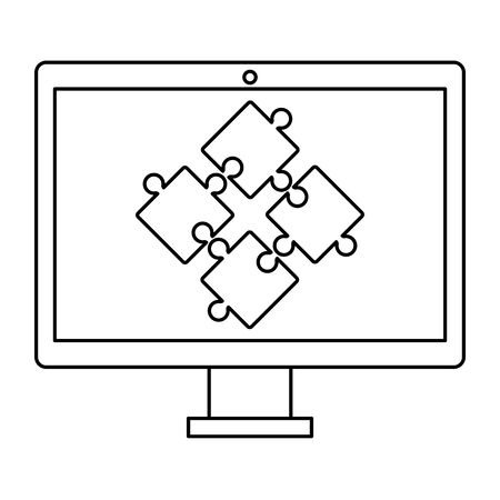 desktop with puzzle game pieces solution vector illustration design Ilustração