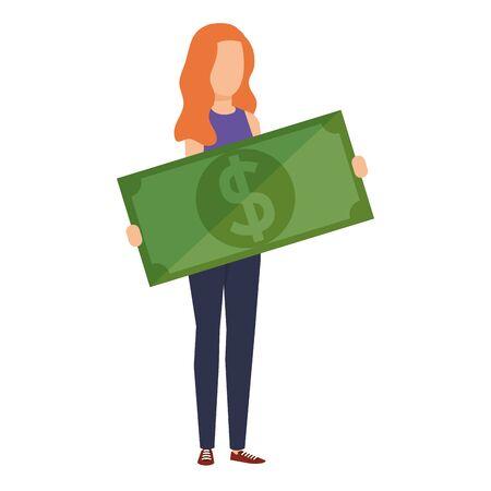 woman lifting bill money dollar character vector illustration design Imagens - 124975795