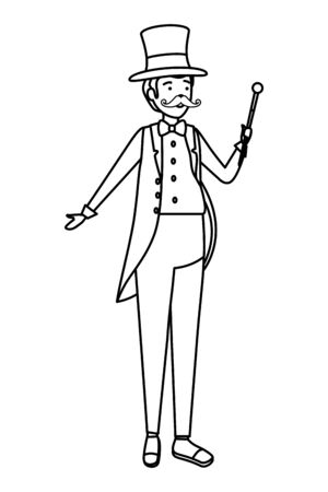 circus magician with hat and wand vector illustration design 일러스트