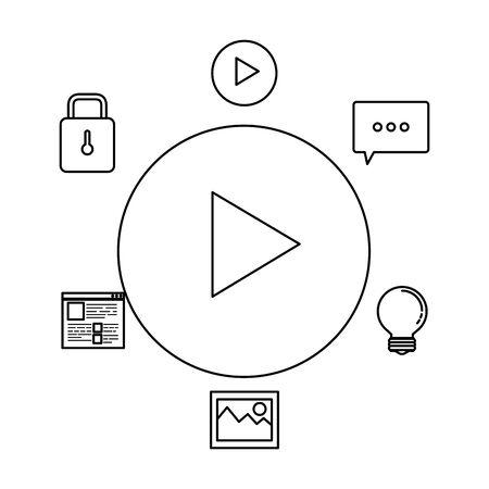 media player button and social marketing vector illustration design Иллюстрация