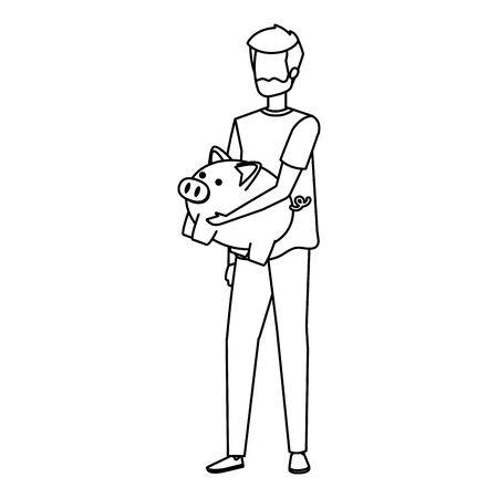 young man lifting piggy savings character vector illustration design Imagens - 124979934