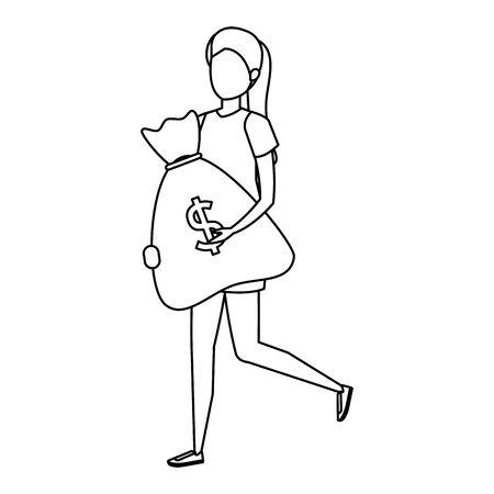 young woman lifting money bag vector illustration design Ilustração
