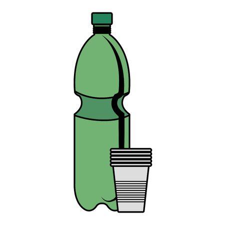 la bottiglia di plastica ricicla con il disegno dell'illustrazione di vettore dei bicchieri di plastica