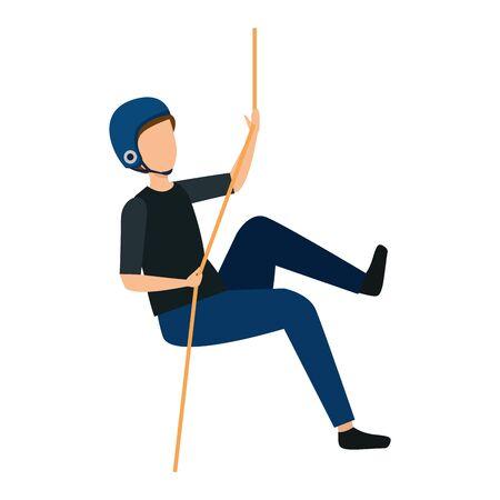 L'homme grimpe avec la conception d'illustration vectorielle de caractère corde