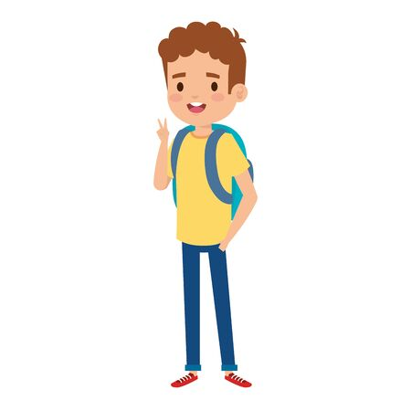 happy little boy with school bag vector illustration design