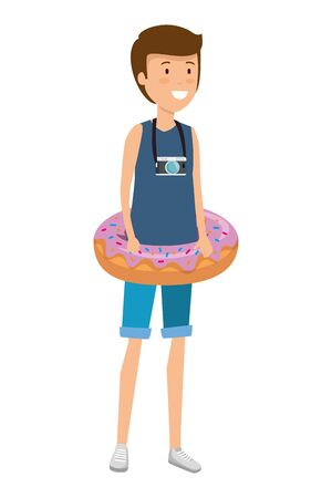 young man with swimsuit and float donut vector illustration design Illustration
