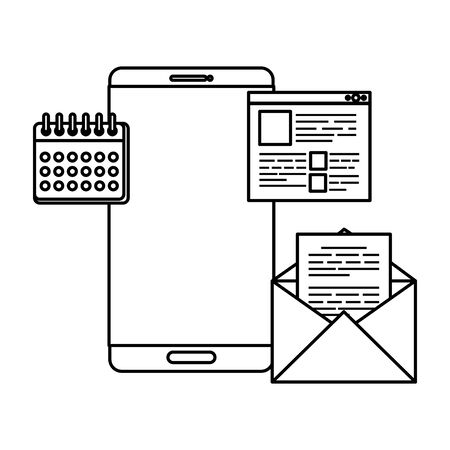 smartphone with calendar and email vector illustration design