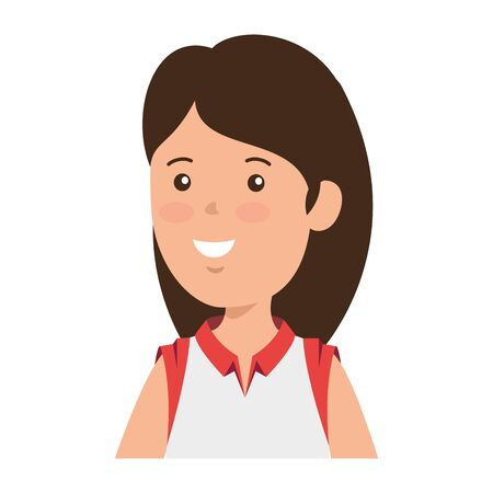 happy young woman avatar character vector illustration design