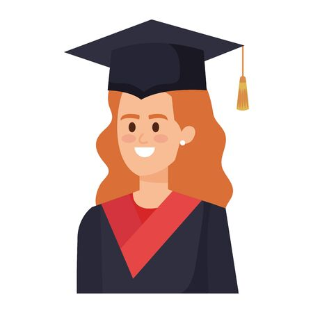 young woman student graduated character vector illustration design Banco de Imagens - 124995763