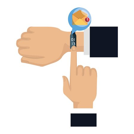 hands with smartwatch sending email vector illustration design Illustration
