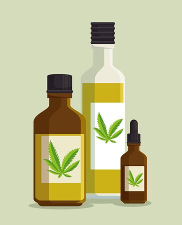 nature cannabis plant oil in the crystal bottles vector illustration