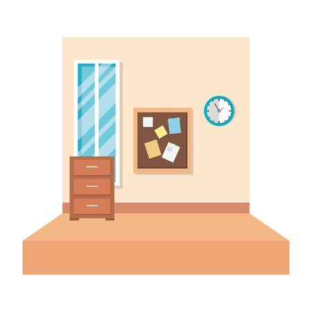 school classroom with drawer and window vector illustration design