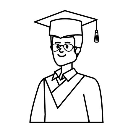 young man student graduated with glasses vector illustration design