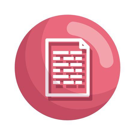 Diseño de ilustración de vector de icono de archivo de documento de papel