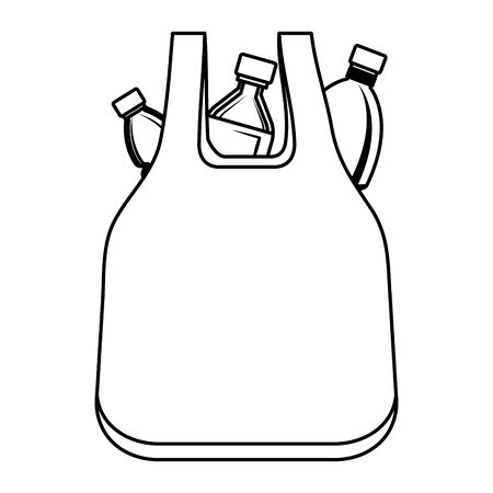 plastic bottles in bag recycle icon vector illustration design Illustration