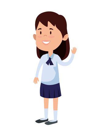 glückliches Studentenmädchen-Comic-Charakter-Vektorillustrationsdesign