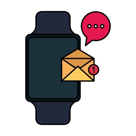 smartwatch with envelope email and speech bubble vector illustration design