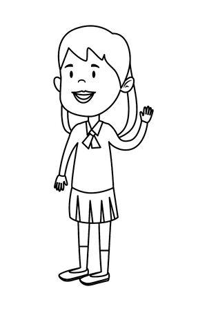 happy student girl comic character vector illustration design