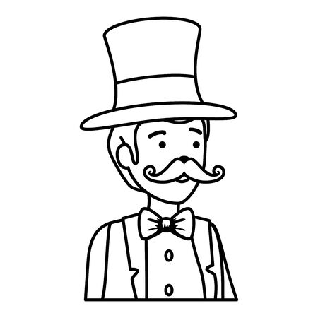 circus magician with hat and mustache vector illustration design Illusztráció