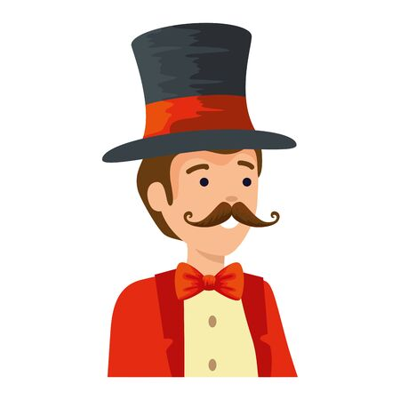 circus magician with hat and mustache vector illustration design Illustration