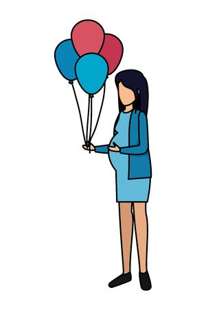beautiful pregnancy woman with balloons helium vector illustration design Banque d'images - 125051901