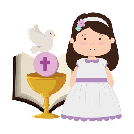 kleines Mädchen mit Bibel und Kelch Erstkommunion Vektor-Illustration Design Vektorgrafik