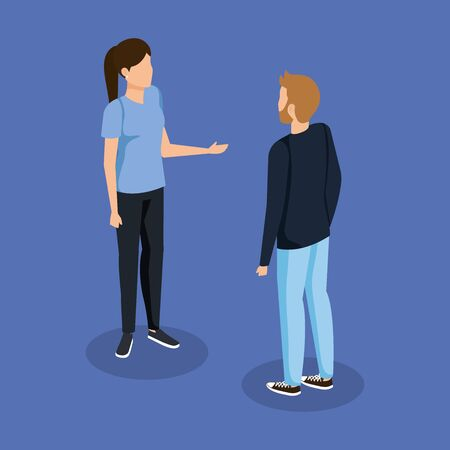 woman and man talking with casual clothes vector illustration Illustration