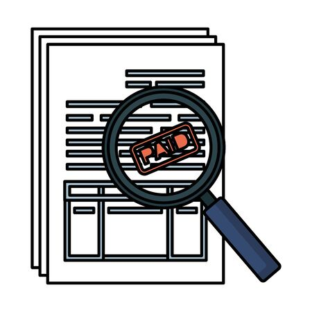 tax documents with magnifying glass vector illustartion design Foto de archivo - 125148523