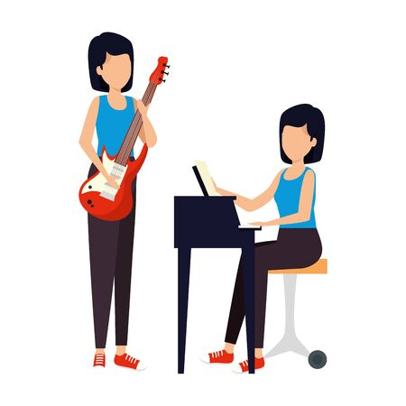 women playing grand piano and guitar electric vector illustration design Çizim